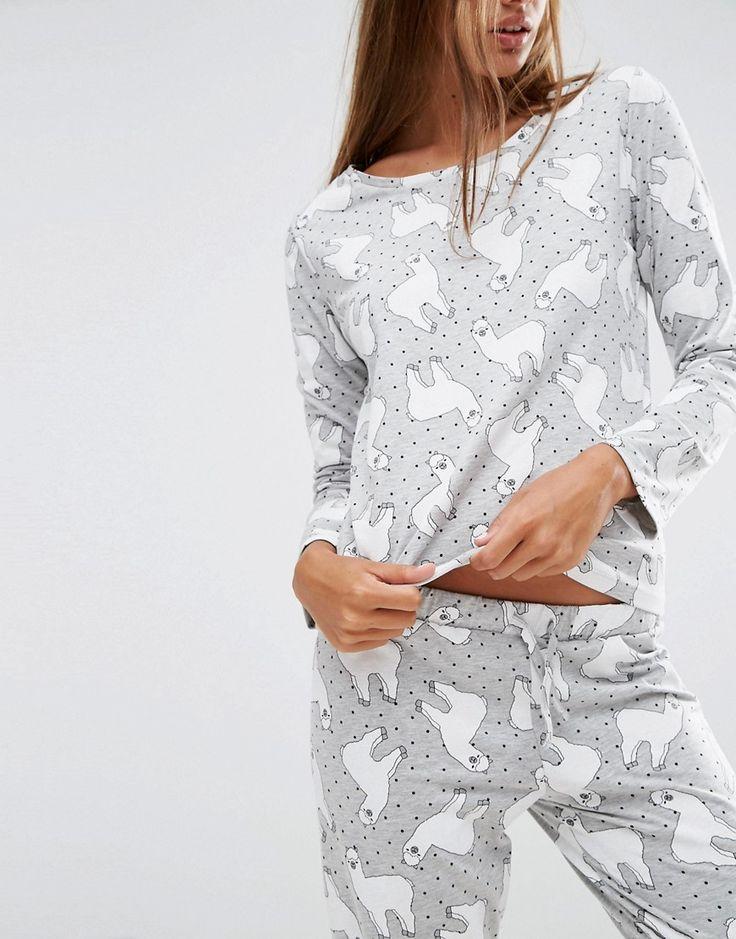 Image 3 ofASOS Llama Print Long Sleeve T-Shirt & Legging Pyjama Set