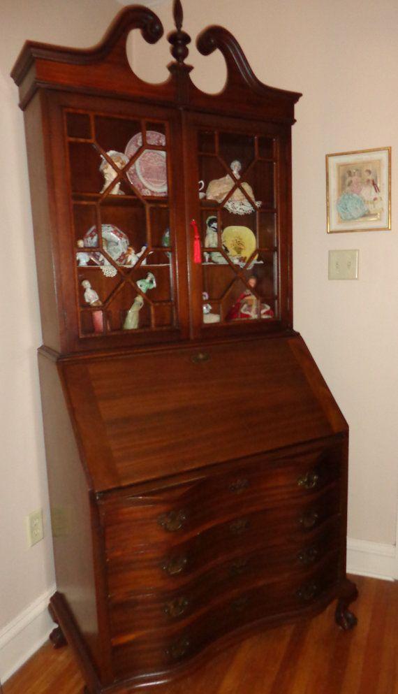 Antique Slant Front Secretary Desk Bookcase Mahogany Ball