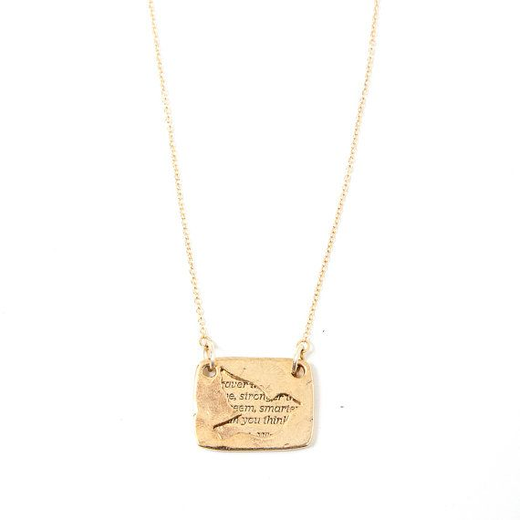 "Bird Necklace in Gold - Winnie the Pooh ""You Are Braver Than You Believe"" Inspirational Quote / Love Notes Collection"