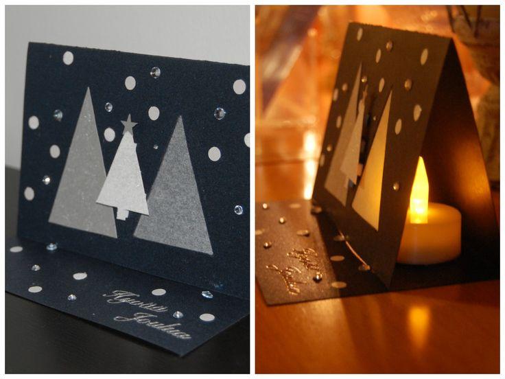 Christmas card with a place for a led tealight // Joulukortti, jossa paikka led-tuikkukynttilälle