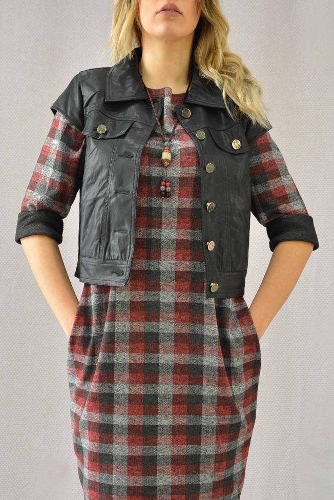 Γυναικείο φόρεμα καρό  FORE-2271-bu Φορέματα - Φορέματα 2016 - Γυναίκα