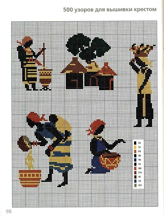 0 point de croix femmes africaines travaillant - cross stitch african women working in their village