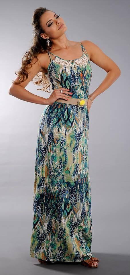 Vestido longo estampado — TRINTEI SHOP