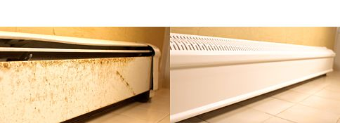 Replace old, metal baseboard heating covers with Cover Luxe Better Baseboard Covers by PLASTX. Cover Luxe covers are made of a highly durable patent-pending composite that won't rust, chip, or dent.