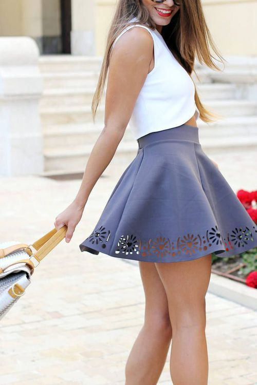Black Blouse and Grey Skirt
