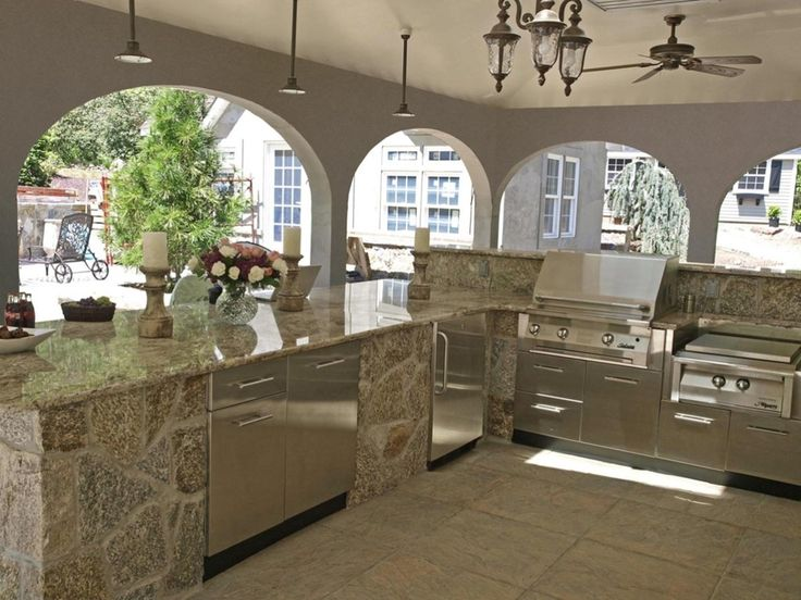 kitchen unusual pendant lighting and stone countertop idea feat modern stainless steel outdoor kitchen cabinets arranged in natural beautiful outdoor