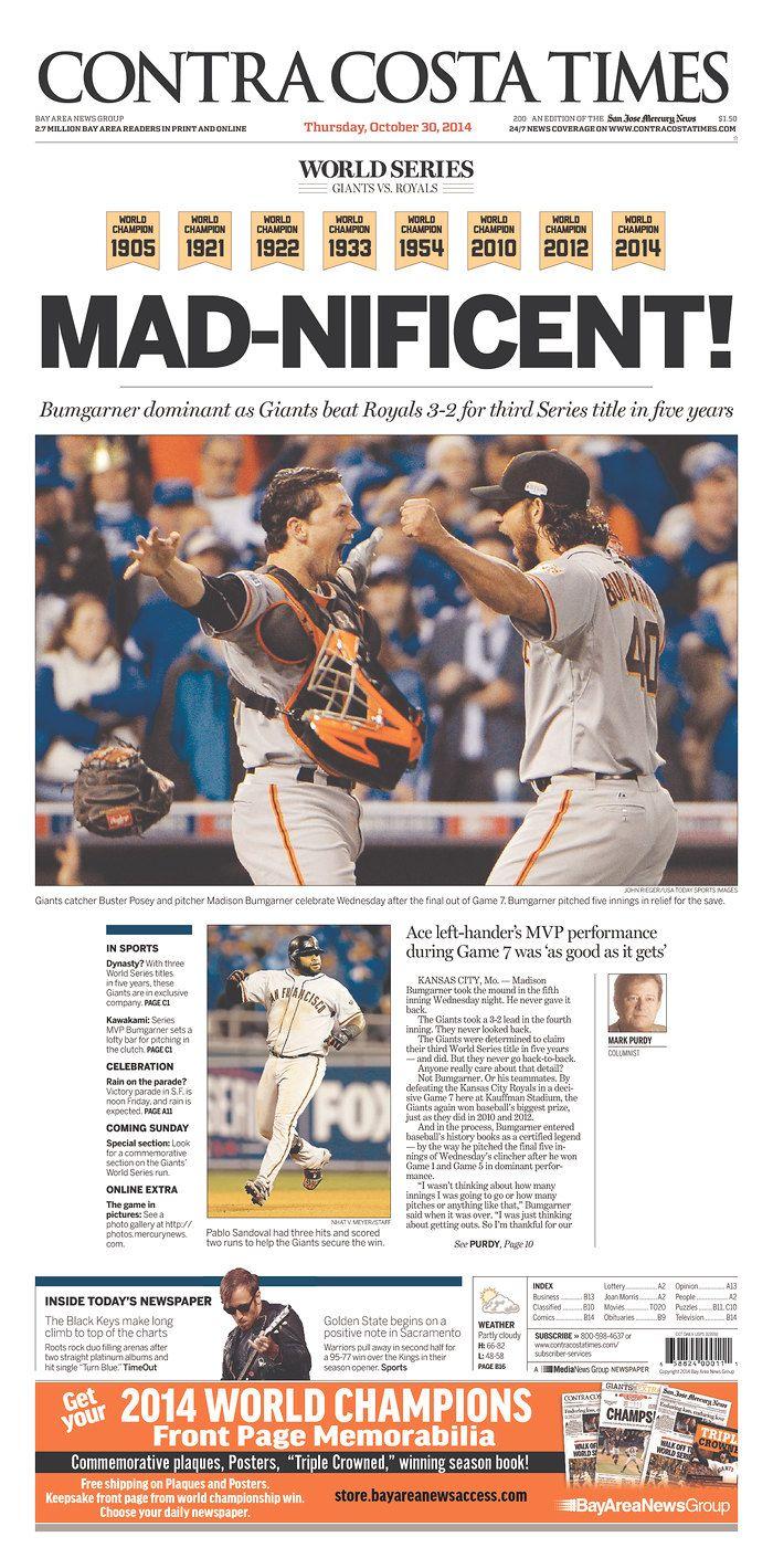 S.F. Giants 2014 World Series Champions ~  #WorldSeries #NewspaperFrontPage