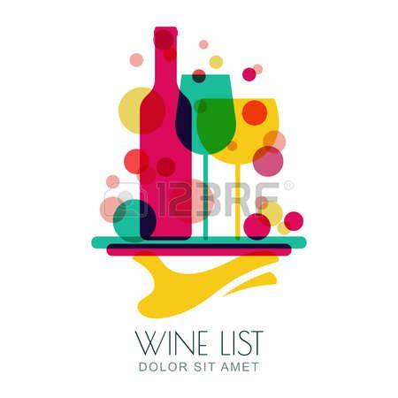 Abstract illustrazione colorata del vassoio umana partecipazione a mano con bottiglia di vino e due bicchieri. Vector logo modello di progettazione. Concetto per carta dei vini, bar menu, bevande alcoliche. photo