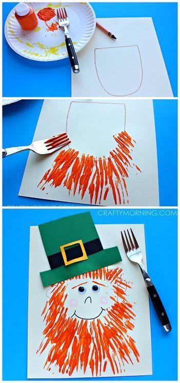 Leprechaun craft with a fork print beard- Fun st. patrick's day craft for kids   CraftyMorning.com
