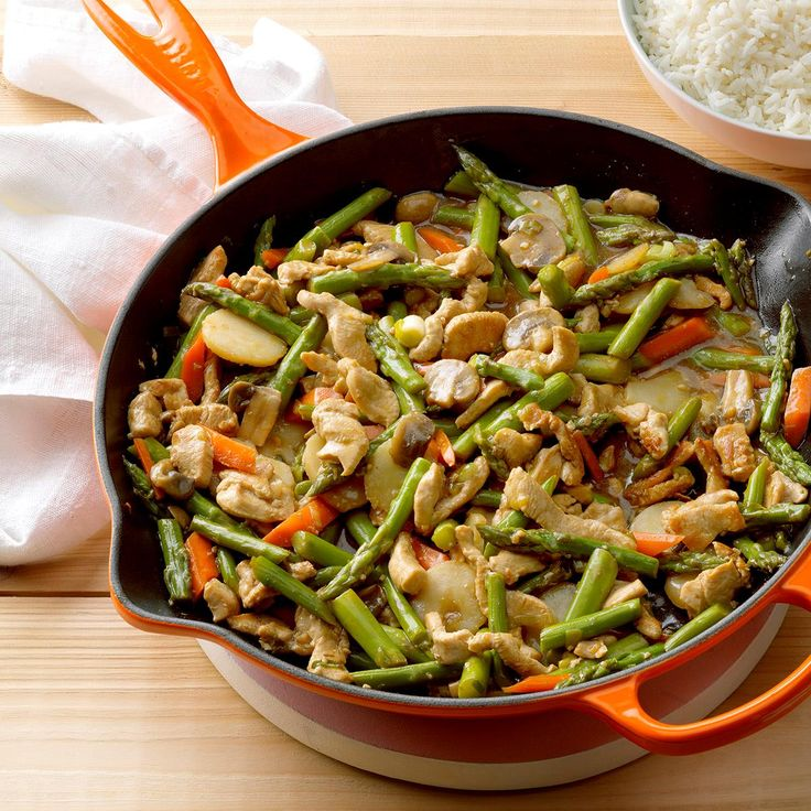 Turkey Asparagus Stir-Fry Recipe -Twenty minutes is all you'll need to make this quick stir fry. Lean turkey, asparagus and mushrooms make it super nutritious, too. —Darlene Kennedy, Galion, Ohio