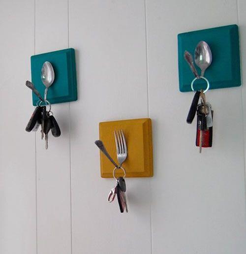 geschirrtuch- oder handtuchhalter für die küche aus besteck, towel holder for kitchen out of silverware, reczik w kuchni