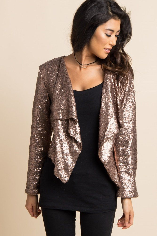 da51d6cfd81 Gold Sequin Draped Front Cropped Jacket