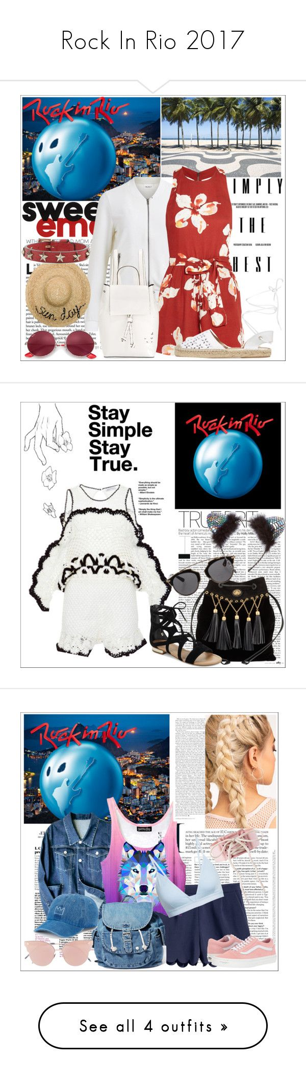 """""""Rock In Rio 2017"""" by larinhacarter ❤ liked on Polyvore featuring National Geographic Home, Object Collectors Item, Alice + Olivia, French Connection, Maiden Lane, Ray-Ban, Eugenia Kim, RED Valentino, Alice McCall and Miu Miu"""