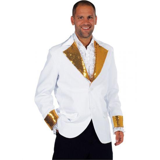 Wit colbert met gouden pailletten  Wit colbert met gouden pailletten. Dit witte colbert is gemaakt van 100% polyester en heeft gouden pailletten op de kraag en mouwen.  EUR 39.95  Meer informatie