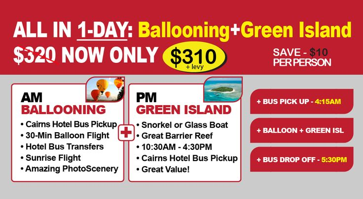 Ballooning + Green Island All in 1-Day Tour Package