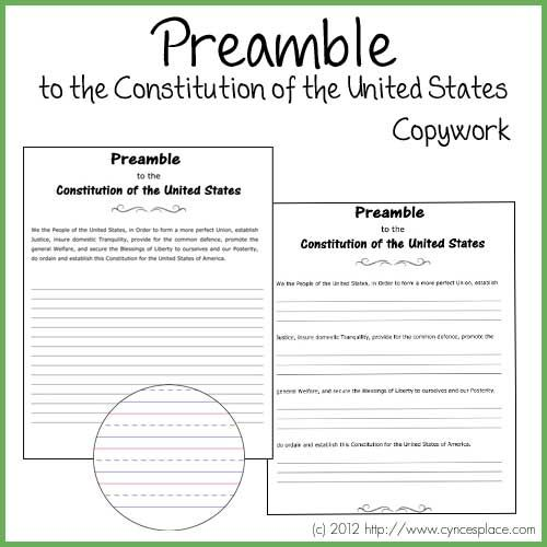 Preamble to the Constitution of the United States of America in several formats for copywork.