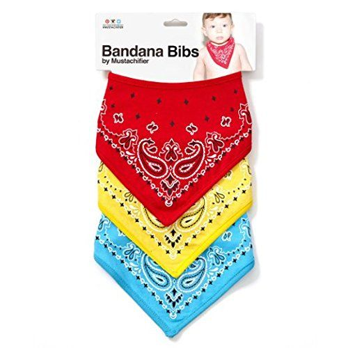 Mustachifier Bandana Bibs - Set of 3, Red/Yellow/Blue. Set includes: 3 Bibs in different color (Red, Blue, and Yellow). Soft and comfortable: 100% Cotton front and Polyester lining on back. Capable of being washed in a washing machine without being damaged. Double layered for extra absorption. Safe and user-friendly: Soft velcro for neck closure.