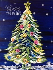 OPEN CLASS- FAMILY DAY- Neon Christmas Tree - Texarkana, TX Painting Class - Painting with a Twist