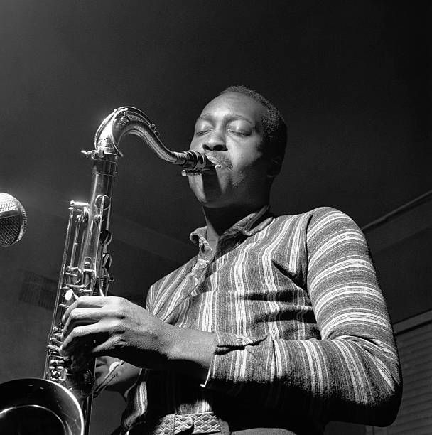 Tenor saxophonist Hank Mobley during a recording session for a Hank Mobley Quintet album.