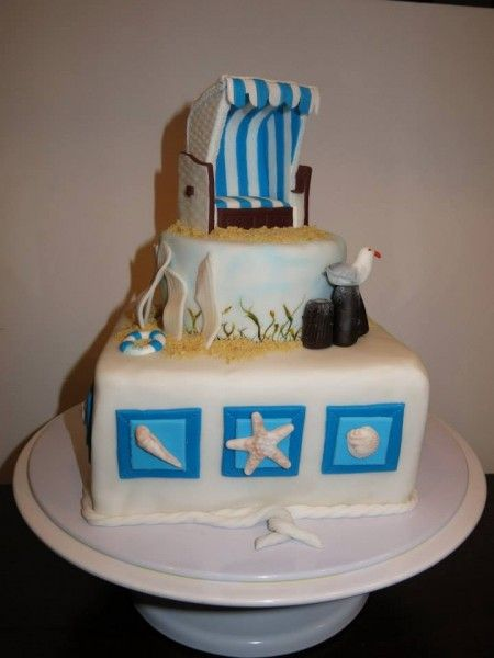 1. Platz: Sandra Gerhard: Strandkorb Torte mit einem gefüllten Schokokuchen unten und oben ein Zitronenkuchen mit Lemoncurdfüllung. Das Geburtstagskind kam von der Ostsee und so war das Motto natürlich schnell klar.
