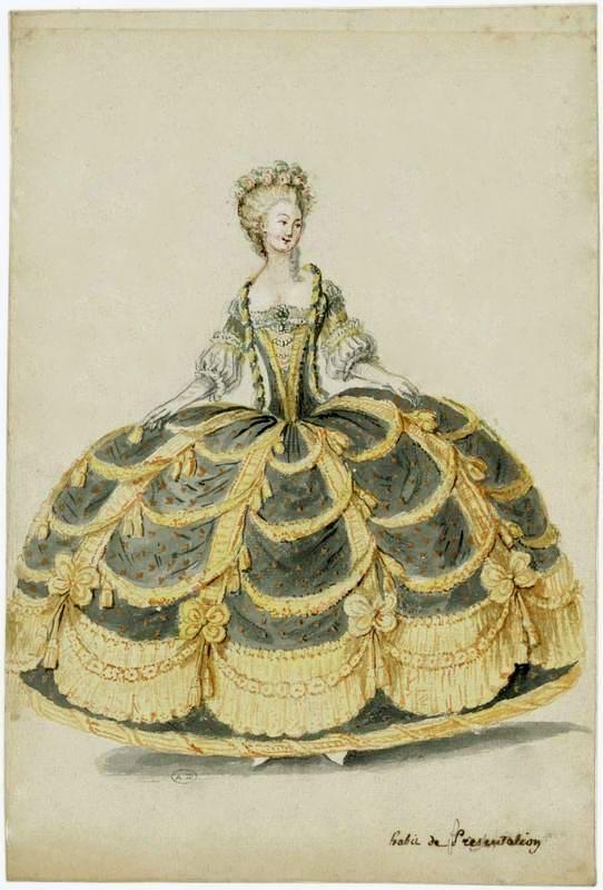 Figure de mode : dame en robe de cour de présentation, avec panier garnie en échelle de Jacob, France, 1788