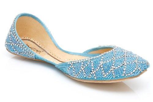Pale blue beaded slipper