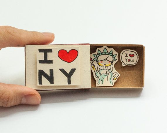 Ich liebe New York Karte Matchbox / Geschenkbox / Alarmbox Statue of Liberty / Postkarte / NYC