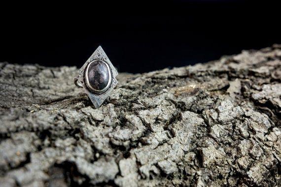 sterling silver natural gemstone ring black by Kirkihandmade