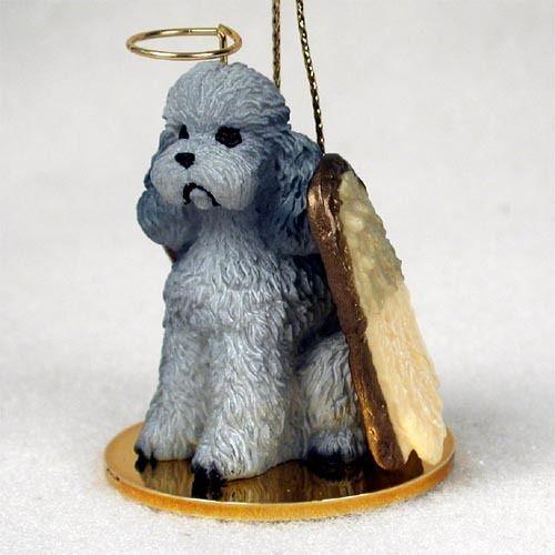POODLE Grey Sport Cut Dog ANGEL Tiny One Ornament Figurine Statue