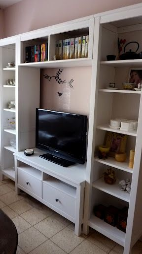 Ikea Hemnes tv stand and book cases for kids playroom, similar stand in a different color.