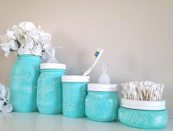 Painted Mason Jars Home Decor Bathroom.