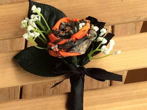 Camo Wedding Boutonniere Orange Camo Wedding by TheVineDesigns