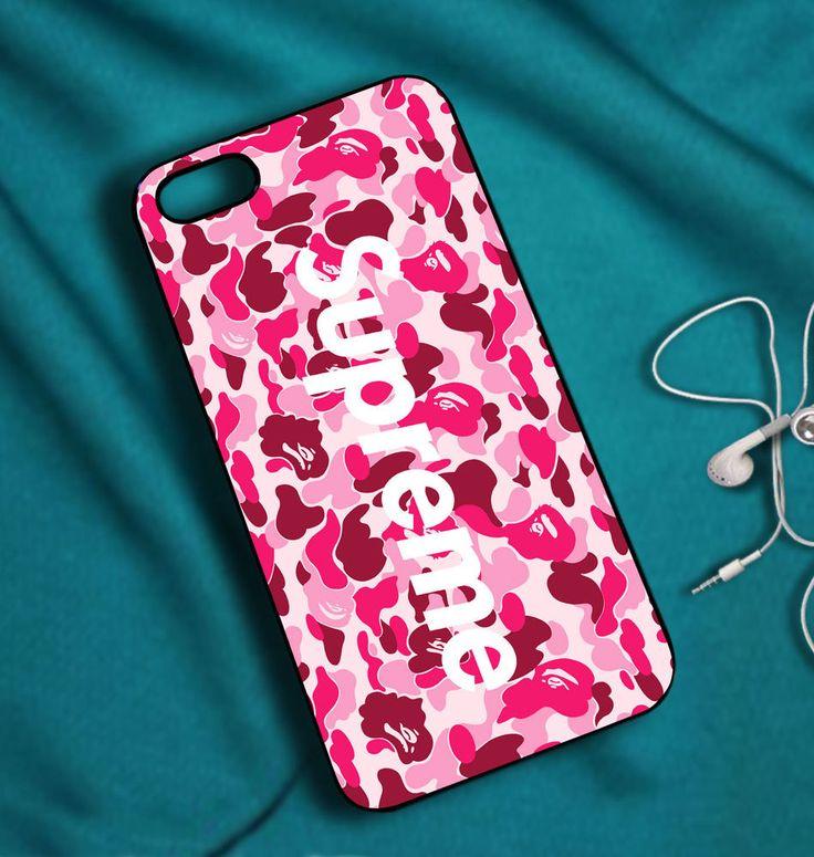 supreme bape camo pink case for iphone 5 5s 5c 6 6plus