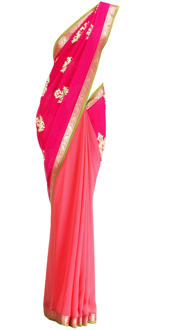 OHAILA KHAN Shocking pink and coral sari with mint green applique work Product Code - SS13PQ01OK Price - $ 287 Description Shocking pink and coral sari with mint green applique bootis and pink banarasi border, It comes with a brownish gold raw silk blouse peice with kasab border.