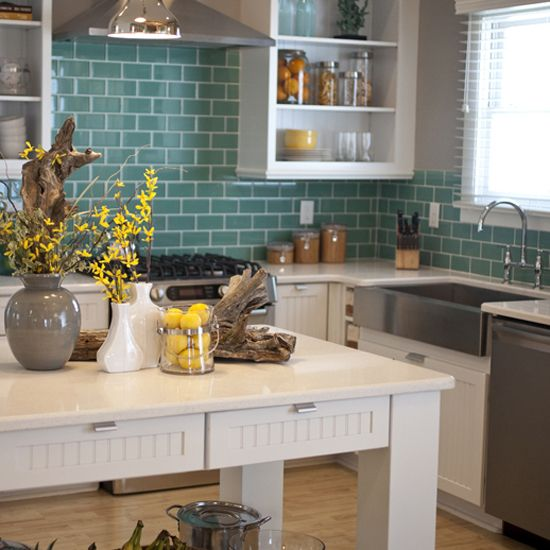 check out this daltile product glass reflections inspiring ideas through real use photo features glass reflections in serene green on the backsplash - Daltile Subway Tile