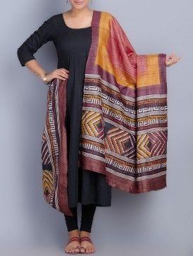 Rust- Multi-Color Tussar Silk Block Printed Dupatta