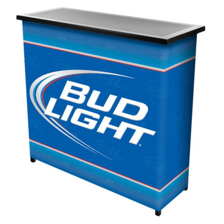 Trademark Bud Light Blue Portable Two Shelf Bar Table with Case - AB8000-BL
