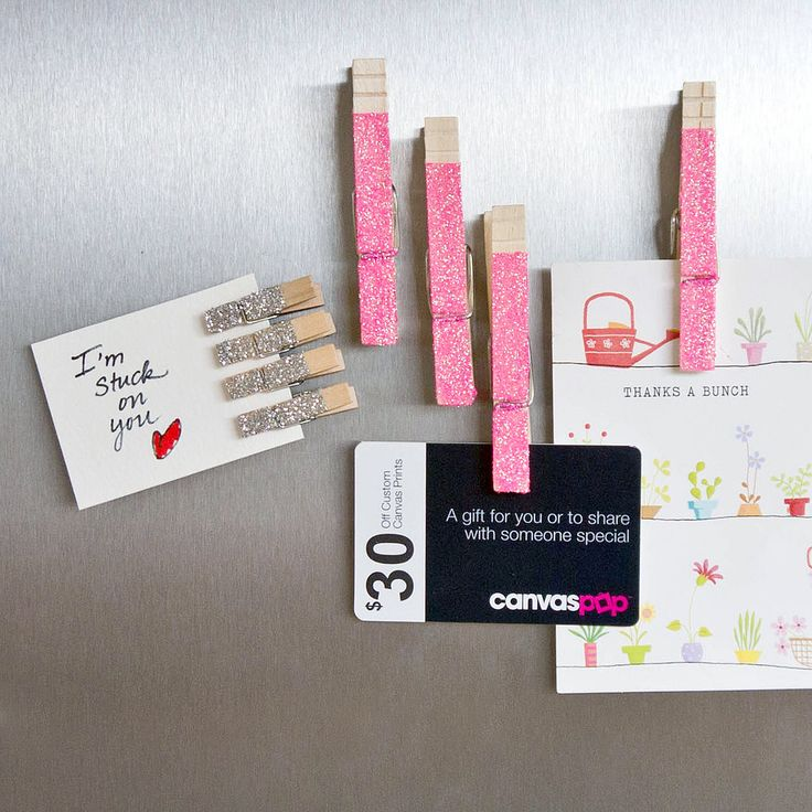 Glam Up Memos With Glittered Clothespin Magnets: Update your work or home with sparkling clothespin magnets that help keep your favorite pictures or important notes organized.