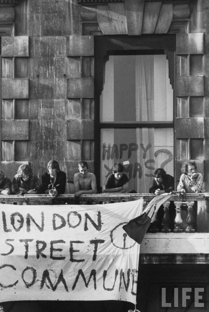 Commune of Hippie Squatters at 144 Picadilly, London, September 1969