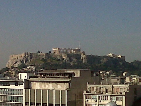 The pathenon from our hotel room in athens