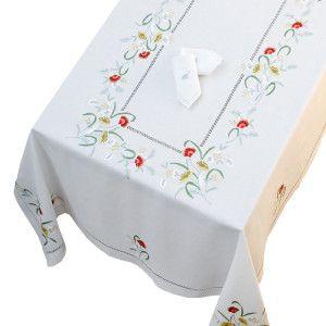 """Mantel rectangular para 12 de puro lino bordado a mano """"Papaveri"""""""