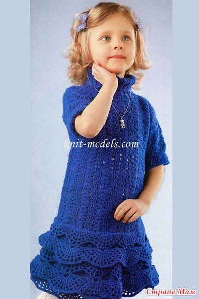 Детское теплое платье крючком.