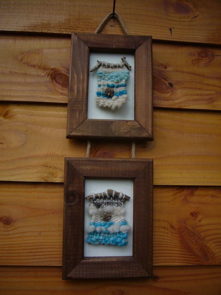 telar en marco de pino pintado doble ,tejido con telar en lana y semillas 20x58 $15.000 no incluye despacho m_daniza@hotmail.com