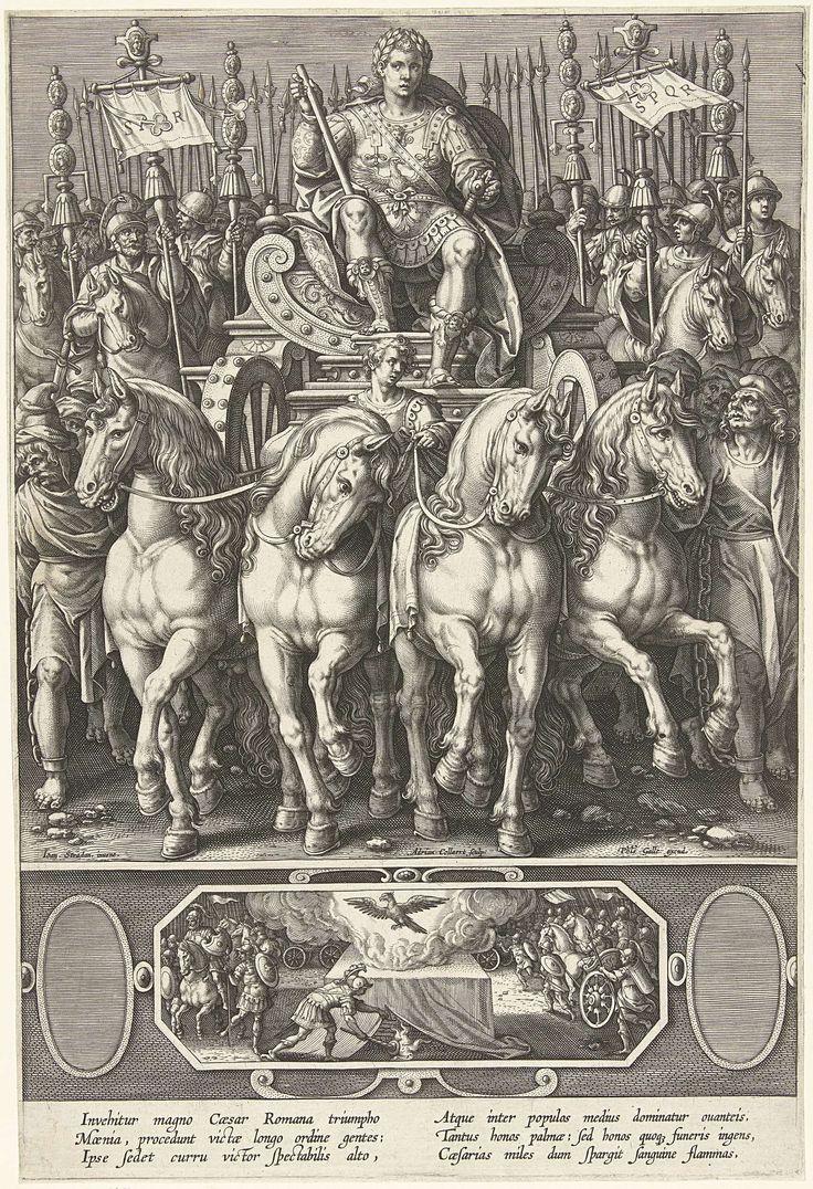 Adriaen Collaert | Triomf van de keizer, Adriaen Collaert, Philips Galle, 1589 - 1618 | Een Romeinse keizer (Julius Caesar?) op een triomfwagen, voortgetrokken door vier paarden. De triomfwagen wordt gevolgd door een ruitereenheid. De prent heeft een Latijns onderschrift. De prent is een later toegevoegde prent van een twaalfdelige serie over Romeinse keizers.