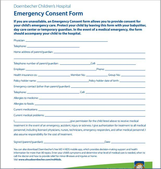Child Medical Consent Form Notarized In 2020 Consent Forms