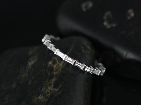 Baguettella 14kt White Gold Thin Horizontal Baguette Diamond Eternity Band (Other Metals Available)