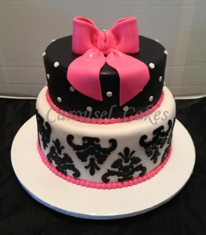 hot pink and black birthday cakes