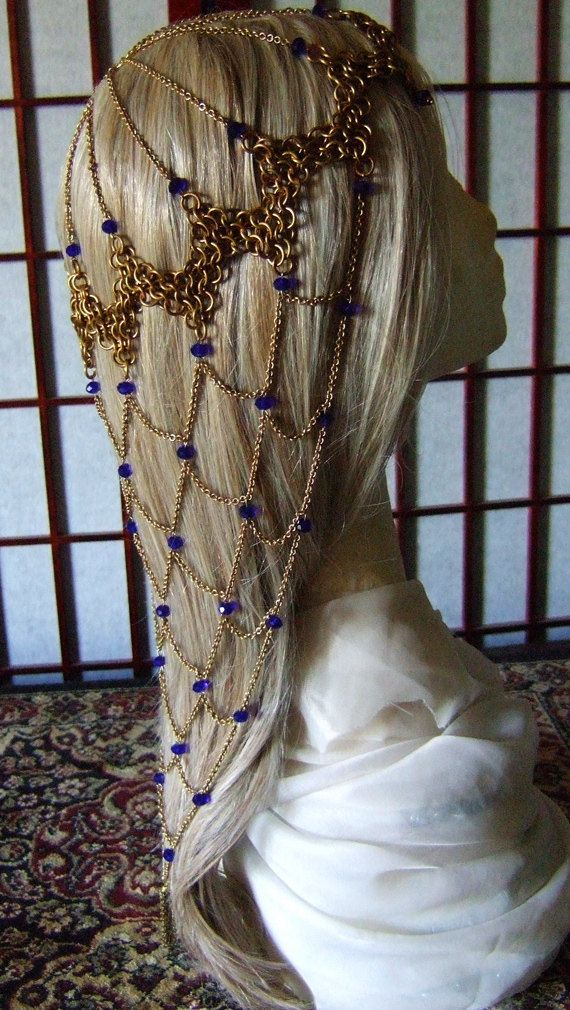 Game of Thrones Brass and Blue Crystal Fishnet by CaravanCloset