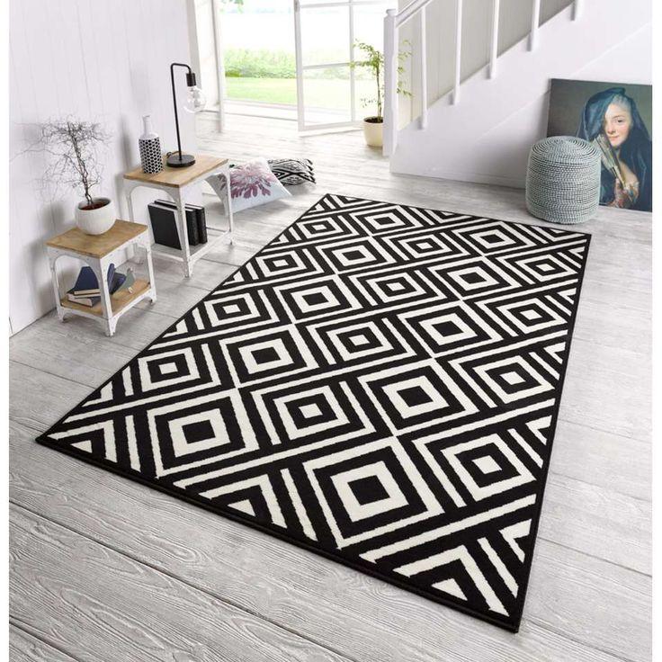 Zala Living vloerkleed Art - zwart/crème - 70x140 cm | Leen Bakker