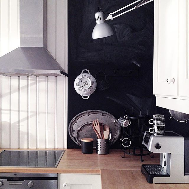 kitchen, blackandwhite, chalkboard, interior, johannasandberghome